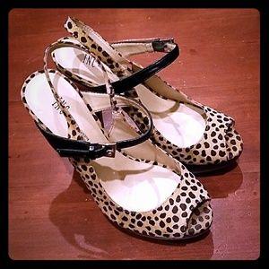 INC Leopard Cheetah Stilettos Peep toe Heels Shoes